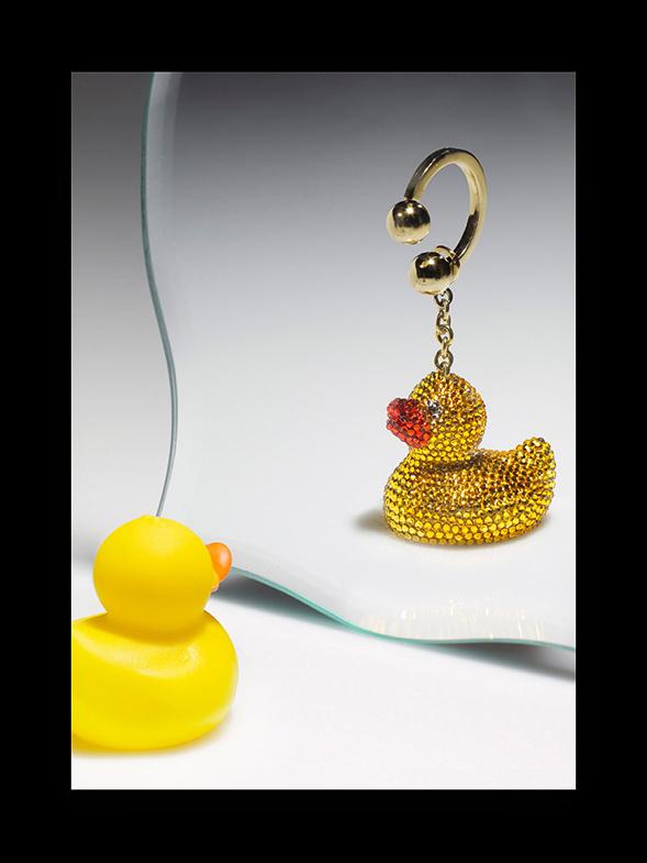 Judith Leiber Ernie Rubber Ducky Key Chain